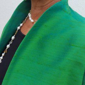 100% Rohseidenjacke kurz Grün Detail