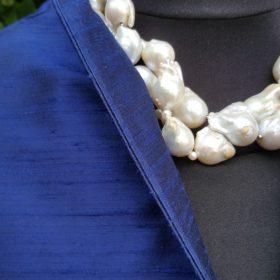 100% Rohseidenjacke kurz Blau Detail