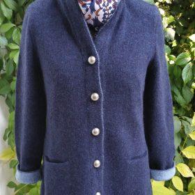 Wollstrickjacke Blau