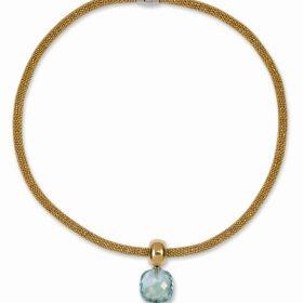 Silber und diamantierte Goldkette mit Kristall